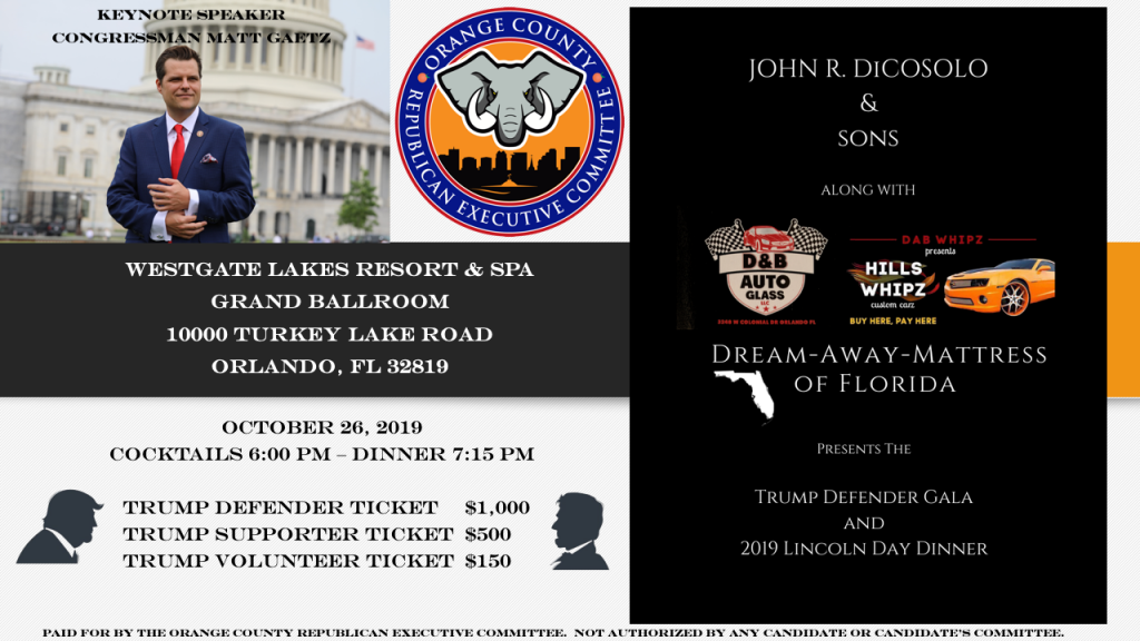 """promotional advertisement for a 2019 GOP fundraising event titled, """"Trump Defender Gala"""", held in Orlando"""